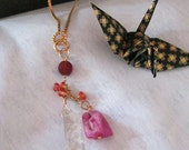 Rare Pink Raw Spinel, Rutilated Quartz, and Padparadscha Sapphire Hessionite Garnet OOAK Gold Necklace