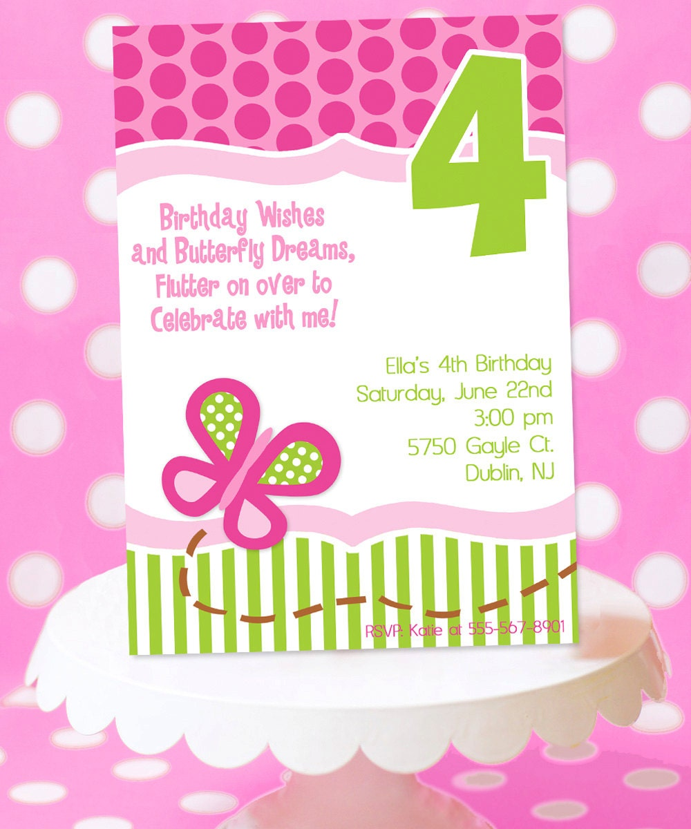 Butterfly Birthday Party Invitation Butterfly Party