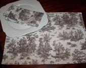 Chocolate Natural Toile Custom Napkins SET OF 4