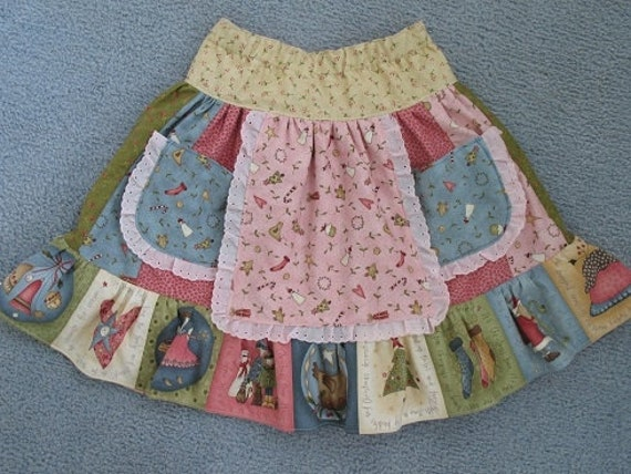 Sale - Christmas Skirt in Pink and Blue, size 6
