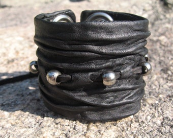 Leather Wristband Black Leather Cuff Bracelet Men's Womens Hand Sculpted Sculpted Urban Jewelry, Wrinkled Crushed Leather