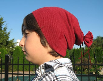 Children's Skullcap Skully Hat Kid's Burgundy Merino Wool Beanie, Dark Rose Red Boy's Girl's  A443