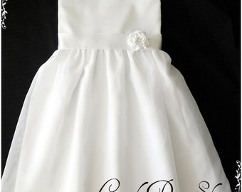 White Flower girl dress, Satin and organza dress for girls, cute design for girls, girls white dress with headband-White birthday dress
