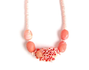 "long chunky statement necklace salmon and soft pink polymer clay chunky bead necklace ""Salmon"" sea anemone necklace unique"