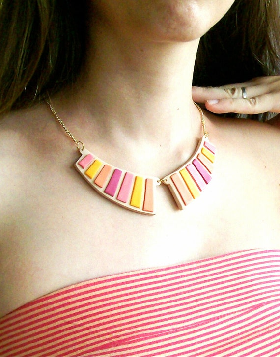 Collar bib statement necklace pink yellow orange purple mosaic stripes on nude polymer clay two-piece necklace fall colors geometric fashion