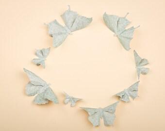 3D Butterfly Wall Art: Aqua Damask Paper Butterflies for Wall Decor, Nursery, Children's Room