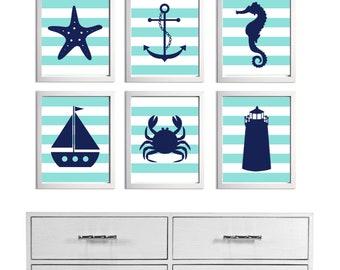 Beach Nursery Art Stripes Ocean Seaside Blue Navy more colors available set of 6 each 8x10