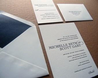 Letterpressed Wedding Invitations - Tux
