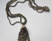 Vintage Weiss Tassel Necklace Signed 2 Strand Black Rhinestones Rare Jewelry