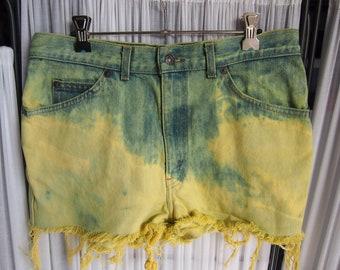 Reinvented Vintage Levi's pastel yellow denim shorts bleach splatter dip dyed cut off