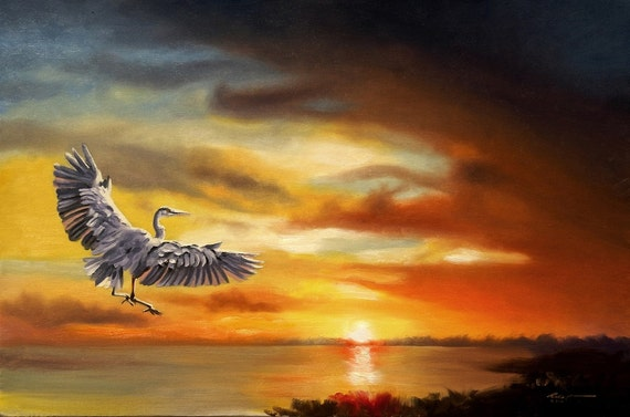 Great Blue Heron wildlife bird sunset 24x36 oils on canvas painting by RUSTY RUST / H-81