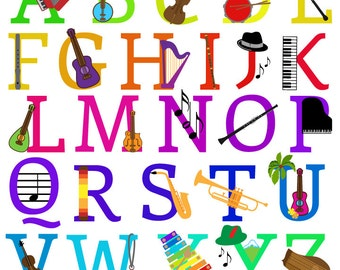 Music Alphabet, Font with Instruments Letters Clipart Clip Art, Uppercase - Commercial and Personal Use
