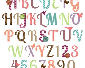 girly alphabet scrapbooking alphabet with flowers butterflies and birds uppercase and numbers commercial and personal use