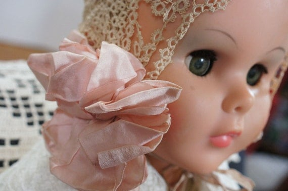RESERVED FOR CONNIE Antique Victorian Handmade Tatted Baby Bonnet
