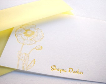 Personalized Letterpress Stationery Poppies Sunshine Yellow