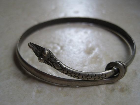 Vintage Silver Snake Bracelet - Art Deco Snake Bracelet - European 800 Silver Bangle - 1920s - Serpent Jewelry - Snake Jewellery