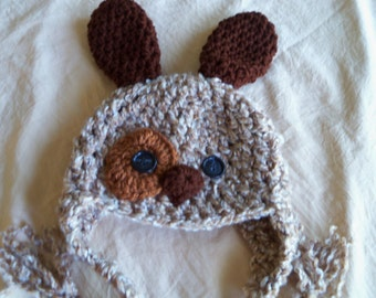 Baby Hat - Baby Puppy Hat -Tan  Puppy Dog Hat - Spotted Puppy Cute and Soft Earflap - by JoJosBootique