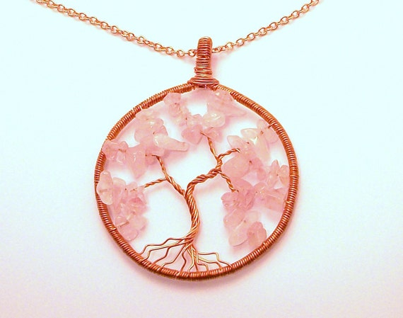 Copper & Rose Quartz Tree of Life Necklace FREE SHIPPING