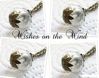 Dandelion Seed Glass Orb Necklace,  Set of 4, Bridesmaids Gift, Small Orb, Bridesmaids Jewelry