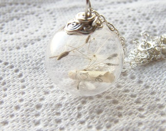 Dandelion Seed Necklace, Glass Globe with Message, Wish Necklace, Message in a Bottle, Personalized Necklace, Christmas Gift