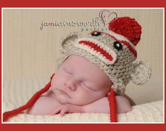Newborn Sock Monkey Hat, Baby Sock Monkey  Hat, Baby Photo Prop, Crochet Newborn Unique Photo Prop
