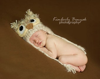 Newborn Owl Hat - Fuzzy Baby Owl Hat - Baby Crochet Hat Photo Prop