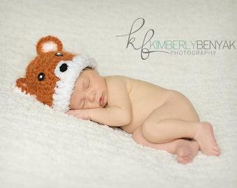 Baby Fox Hat, Newborn Fox Hat, Crochet Fox Hat, Baby Crochet Photo Prop