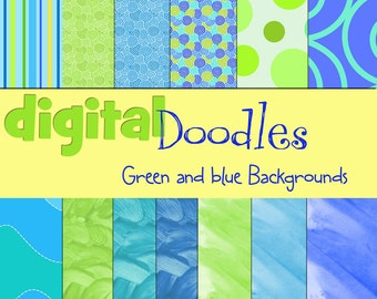 BLues and Greens Digital  Paper Pack