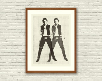 SPACE COWBOY - Star Wars Inspired, Han Solo, 18 x 24 Handprinted Silkscreen Art Print, Modern Poster, Boutique, Retro Home
