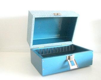 Mid-Century Blue Metal Film Reel Storage Box