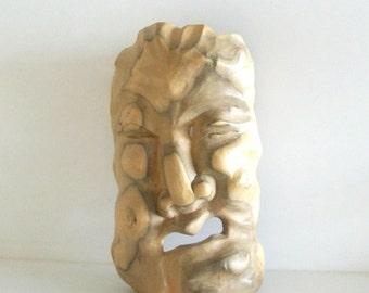 Vintage Wooden Carved Face Mask