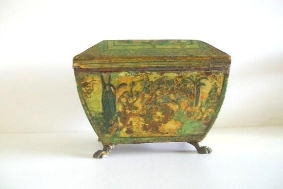 Vintage Oriental Trinket/Jewelry Box With Claw Feet