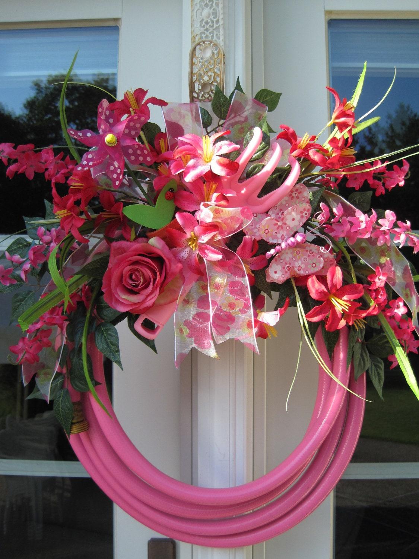 Pink Garden Hose Wreath Garden Tool Butterfly Windmill