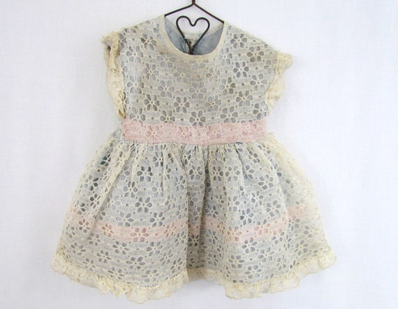 RESERVED Vintage Doll Dress Lace and Satin In Blue and Pink