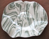 Ceramics and Pottery Large Serving Platter or Tray - Modern Wedding Gift - Dark Sage Green and White Agateware - Slab Built