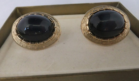 Vintage jewelry cuff links by Swank with huge Smokey grey center Faux plastic stone set in gold tone Wedding cuff links