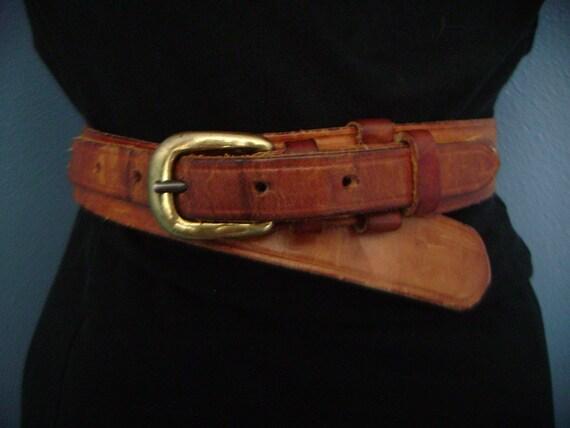 AMAZING Vintage 1960s 1970s Brown Leather Hippie Belt