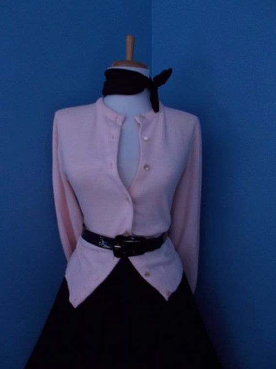 Sexy Vintage 1950s 1960s  Pink Button Down Cardigan Sweater