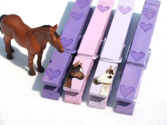 PURPLE PONIES CLOTHESPINS hand painted magnetic horses