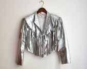 Vintage 80s Cropped Metallic Silver Leather Jacket With Fringe// Rhinestone Metallic Leather Jacket