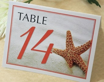 Starfish Table Number, Beach Wedding Table Numbers, DEPOSIT