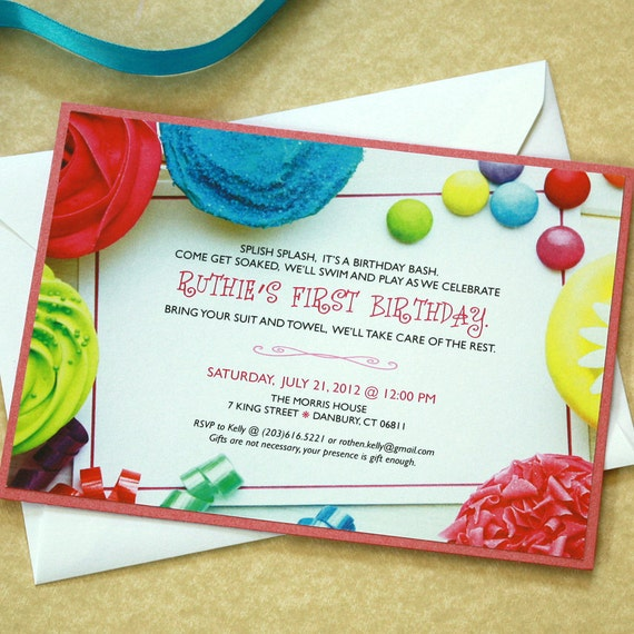 Cupcake Birthday Invitation, Party invitation, DEPOSIT