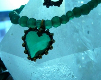 Vintage Green Glass and Brass (or Gold) Heart on Green Crystal Beads