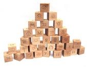 Wood blocks toy wooden stacking 32 block building letter number animals math wood all natural