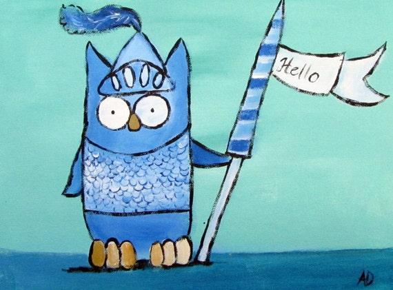 Children Decor Painting, Nursery Art, Owl Knight, Boys Room, Original Acrylic Painting