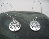 Silver Tree Earrings Tree of LIfe Jewelry Simple Everyday Tree Jewelry Fall Autumn Earrings