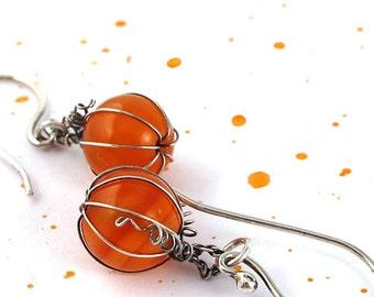 Sterling Silver Earrings Orange Carnelian Pumpkin Dangle Halloween Autumn Colors Thanksgiving Fall Harvest