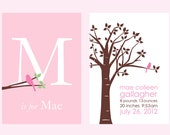 """Personalized Custom Baby Name/Birthdate Print and Initial/Monogram Print-  Set of two 5""""x7"""" prints (Pink/White)"""
