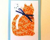 Orange and blue cat card