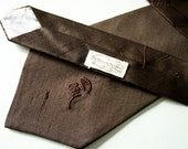 Vintage Countess Mara New York Men's 1980's Tie, Dark Chocolate Silk Necktie